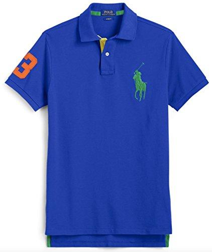 Polo Ralph Lauren Mens Custom Fit Big Pony Mesh Polo Shirt   Xl   Pacific Royal
