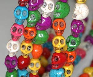 """8X6MM Rainbow Turquoise Gemstone Multicolor Carved Skull Head Loose Beads 16"""" Crafting Key Chain Bracelet Necklace Jewelry Accessories Pendants"""