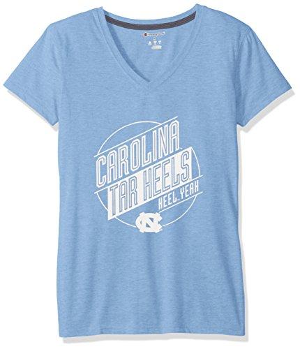 Ncaa North Carolina Tar Heels Womens Poly  V Neck T Shirt  Medium  Blue Heather
