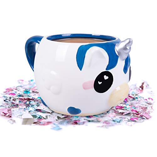 Glitter Galaxy Unicow Coffee Mug - MooMoo the Blue Unicorn Cow - 16 oz