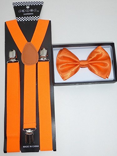 4everStore Unisex Bow Tie & Suspender Sets, Orange -
