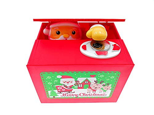 ALIMITOPIA Christmas Saving Money Box,Musical Mischief Santa Stealing Coin Piggy Bank Coin Storage Pot for Xmas Holiday Gift(Cartoon Santa)