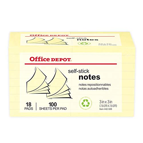 Recycled Self Stick Notes - Office Depot 30% Recycled Self-Stick Notes, 3in. x 3in., Yellow, 100 Sheets Per Pad, Pack Of 18 Pads, OD-3318YR