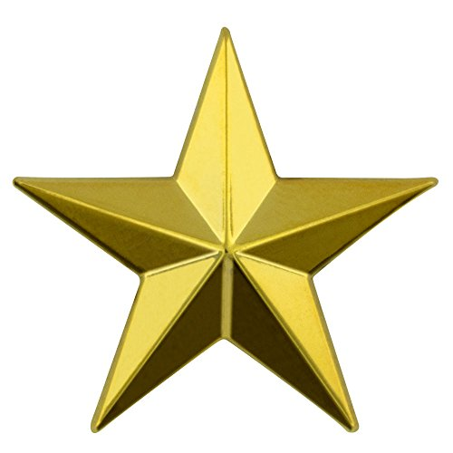 PinMart's Military 3D 5 Point Gold Star Lapel Pin