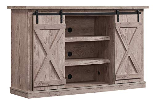 Simple Living Products Industrial 54'' TV Stand - Antique Rustic Look - Sliding Doors - Vintage Design (Ashland Pine)