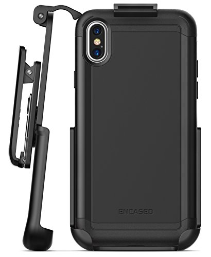 Encased Thin Fit iPhone X Belt Case, Slim Dual Layer Protective Bumper Cover w/ Holster Clip Combo - Compatible to Apple iPhone X (Scorpio Black)