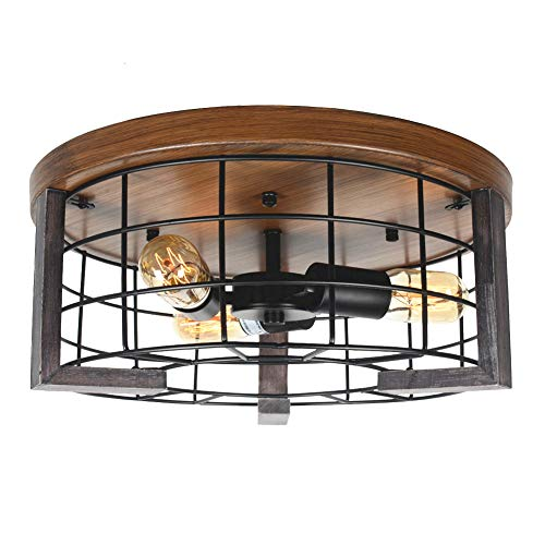 Baiwaiz Round Rustic Flush Mount Ceiling Light, Metal and Wood Farmhouse Ceiling Lighting Black Industrial Wire Cage Light 3 Lights Edison E26 086