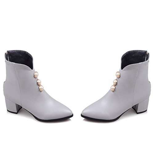 Allhqfashion Women's Zipper Pointed Closed Toe Kitten-Heels PU Low-Top Boots Gray nuxTHVTb