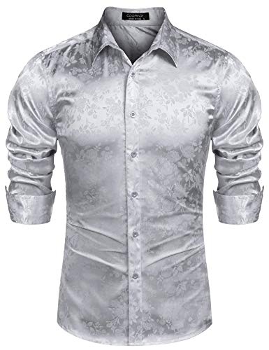 - COOFANDY Men's Long Sleeve Satin Luxury Printed Silk Dress Shirt Dance Prom Party Button Down Shirts (XX-Large, Silver Gray)