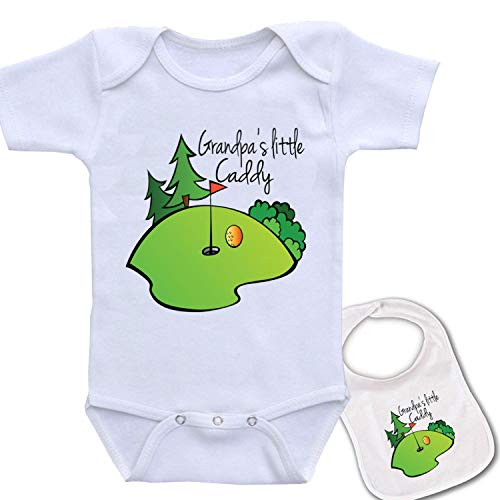 Grandpa's Little Caddy (golf) Cute custom Baby bodysuit onesie & matching bib