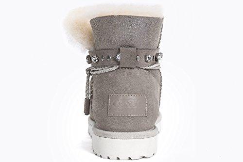 OZZEG femmes bottes cheville haute chaussures en peau de mouton laine doublure (39.5, gris)