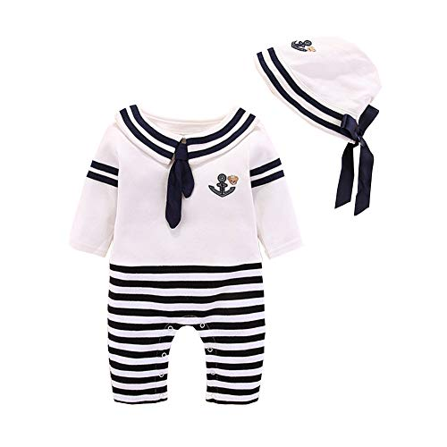 Christening Sailor Suit - Fairy Baby Newborn Baby Boys Girls 2pcs Outfit Clothese Set Nautical Sailor Romper+Hat Size 0-3M (Black)