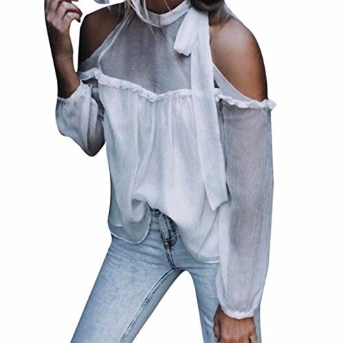 Kangma Women Sexy Off Shoulder Solid Chiffon Long Sleeve Bandage Halter Tops Blouse (Silk Halter Top Blouse)