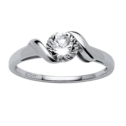 Twisted Shank Ring (Round White Cubic Zirconia 10k White Gold Twisted Shank Ring Size 9)