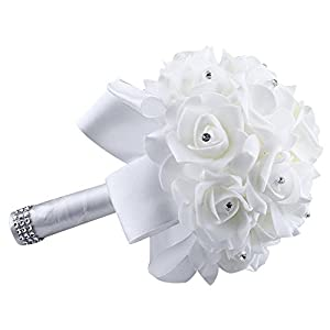 Yu2d  Crystal Roses Pearl Bridesmaid Wedding Bouquet Bridal Artificial Silk Flowers (D) 33