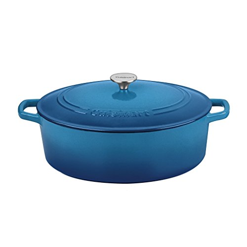 Blue Oval French Oven - Cuisinart Oval Casserole, Gradient Blue, 7 Qt