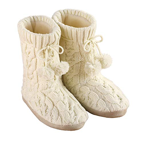 Collections Etc Cable Knit Slippers with Pom Poms, Comfortable Booties for Women
