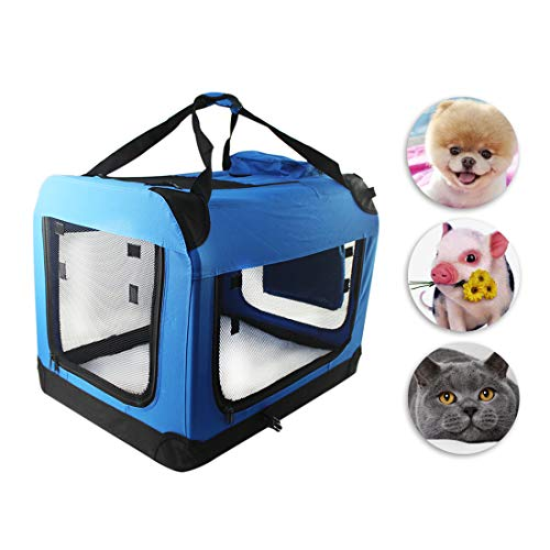 COPACHI Pet Carrier Airline Approved, Soft Sided Portable Travel Bags for Dogs and Cats Collapsible Puppy Carrier with Removable Fleece Pad and Pockets Blue (S, Blue)