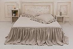 Pure Linen Ruffled Bed Spread -  Handmad...