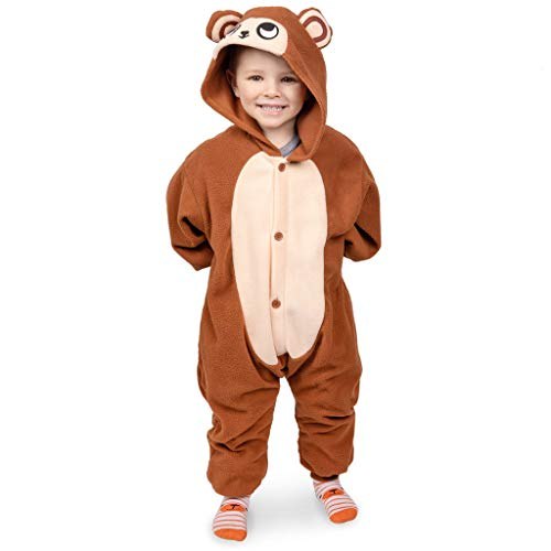 Emolly Fashion Kids Animal Monkey Pajama Onesie - Soft and Comfortable with Pockets (8, Monkey) Brown