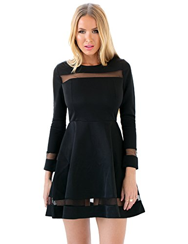 LookbookStore Women's A Line Skater Long Sleeves Mesh Panel Flare Casual Dress (US 26, Black)
