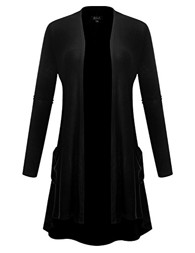 (BH B.I.L.Y USA Women's Open Front High-Low Long Sleeve Front Pockets Cardigan Black X-Large)