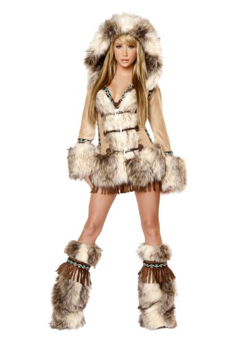 [J. Valentine Women's The Eskimo Costume Hooded Coat Sequin Trimmed Toggle Front Closures, Tan/Brown,] (Edc Costumes Men)