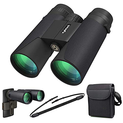 (Kylietech 12X42 Binoculars with Phone Adapter Professional HD Compact Waterproof and Fogproof Telescope Sports-BAK4 Prism FMC Lens for Bird Watching Hiking Stargazing Hunting Concert with Carrying)