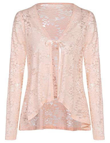 - Concep Lace Cardigan Plus Size Crochet Shrugs and Boleros Long Sleeve Open Front Jackets (Nude, S)