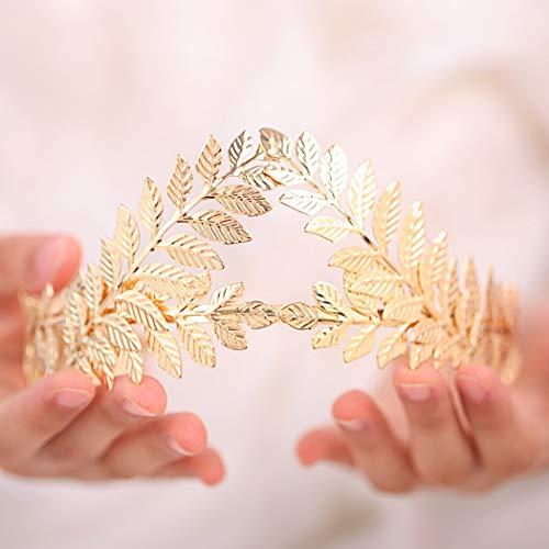 Artio Bride Wedding Headband Gold Leaf Headpiece Bridal Hair Crown for Women and Girls HB002 ()