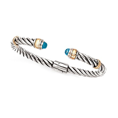 Enchanta Collection Sterling Silver & 14K Blue Topaz Twisted Cuff Bracelet ()