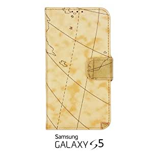 OnlineBestDigital - Map of the World Painting PU Leather Wallet Case for Samsung Galaxy S5 - Yellow with 3 Screen Protectors and Stylus