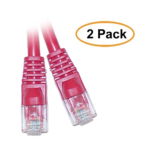 ACL 14 Feet RJ45 Snagless/Molded Boot Red Cat5e Crossover Ethernet Lan Cable, 2 ()
