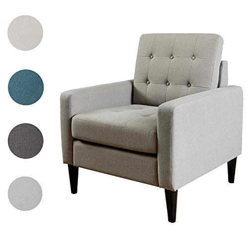 Top Space Accent Chair Living Room Chair Arm Chairs Single Sofa Upholstered Gray Comfy Fabric Mid-Century Modern Furniture for Bedroom Office 1PCS-1, Gray