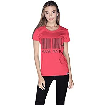 Creo Pink Cotton Round Neck T-Shirt For Women