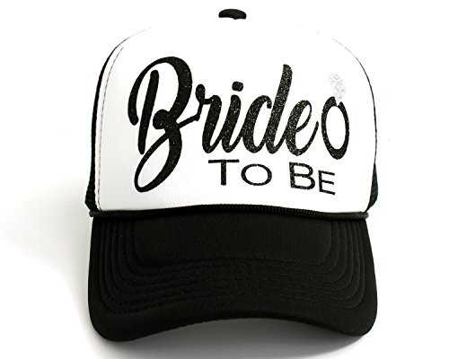 High Limit Bride to Be Diamond Ring Black/White Trucker Hat with Black Glitter Lettering]()
