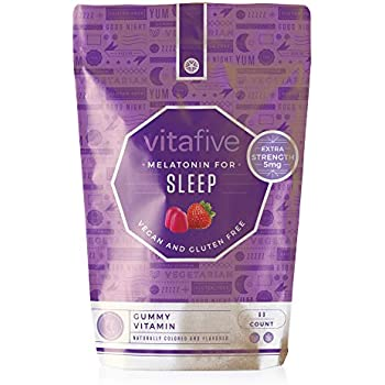 Vitafive Extra Strength Melatonin Gummies - Natural Sleep Aid Gummy Vitamins - Eco Friendly, Natural Strawberry Flavor, Vegan, Vegetarian, Gluten Free, ...