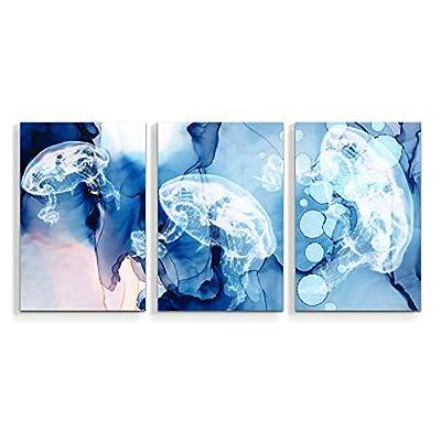 Wall26-3 Panel Canvas Wall Art- Sea Animal Jellyfish -Giclee Painting Wall Bedroom Living Room Home Decoration - 16