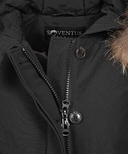 FASHION Noir Noir Parka Manteau SOVENTUS Noir Femme 36 4wdOppxg