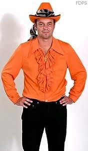 Disfraz Camisa de Volantes para Hombre en Naranja 111cm Pecho