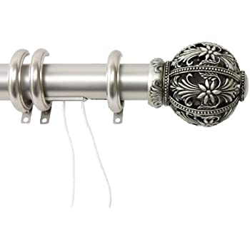 Decorative Traverse Curtain Rod W/ Rings Embroidery Finial 84   156 Inch    Satin Nickel  Curtain Rod Rings