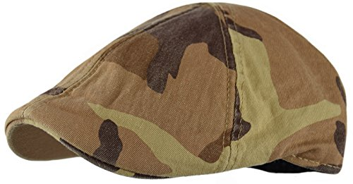 Men's Plain Cotton duckbill IVY Cap, Cabbie, Driving Hat, Golf Cap (Camo-Brown, Small/Medium)