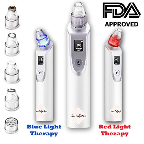 Blackhead Remover Pore Vacuum with Blue and Red Light Therapy Electric Acne Comedone Suction Pimple Zit Extractor Microdermabrasion Machine for Men Women Facial Treatment Professional Beauty Device from Lux Collective