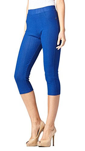 Premium Jeggings - Denim Leggings - Cotton Stretch Blend - Capri Royal Blue - Small/Medium