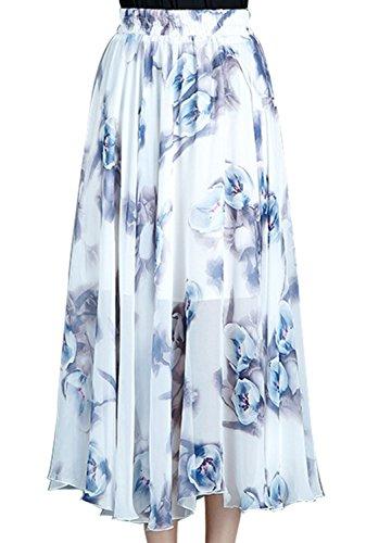 FEOYA Femmes Jupes Longues Style Bohme en Mousseline de Soie Modle 7