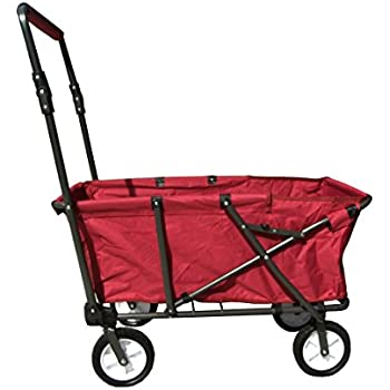 Impact Canopy Collapsible Folding Outdoor Wagon Utility Cart, Red