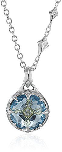 Judith Ripka 'Windrose' Couture Pendant Necklace with Drop At The Back with Sky Blue Topaz and Diamond Pendant Necklace, 16' + 2' Extender
