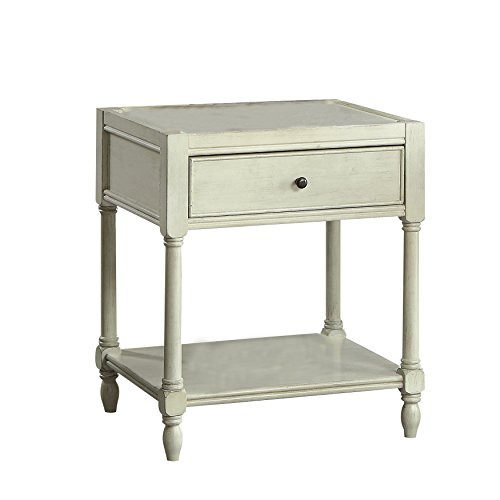 HOMES Inside Out IDF-AC162WH Carmen Side Table Antique White