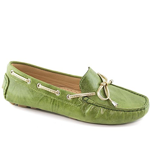 Driver Club USA Women's Genuine Leather Made in Brazil Nantucket Classic Lime Green Crush 10 by Driver Club USA