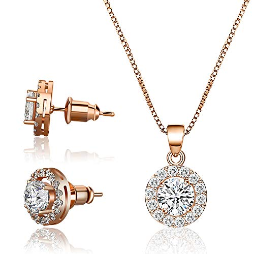 CZCITY Rose Gold Necklace Jewelry Set for Women - 18K Rose Gold Plated Pendant Necklace Stud Earrings Set Round Cut CZ Solitaire Halo Necklace Women Girls, Flower Girl Necklace Bridesmaid Jewelry - Necklace Jewelry Pendant Set